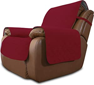 Easy-Going Sofa Slipcover Waterproof Oversized Recliner Chair Cover Non-Slip Fabric Couch Cover for Living Room Washable Furniture Protector for Pets Kids Dog (Oversized Recliner, Christmas Red)