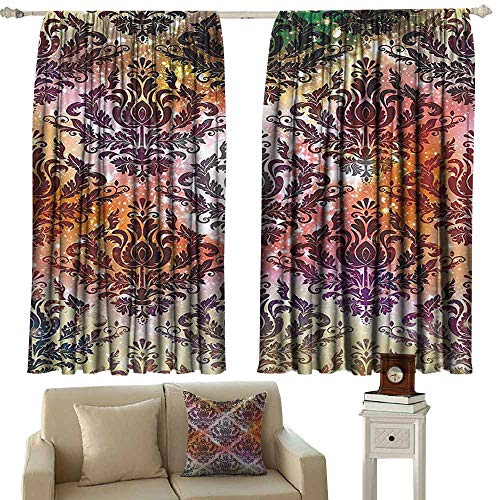 Thermal Insulated Room Darkening Window Shade Damask Geometric Decor,Abstract Watercolor Chandelier Oriental Victorian Ornamental,Coral Yellow Purple Green 72