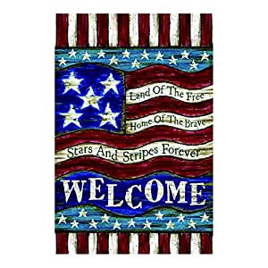 LDJ Pencil Drawing American Flag Symbolizes Free Brave And Forever Double Sided Decorative Outdoor And Indoor Flags 100% Polyester And Waterproof,Fade,And Mildew Resistant, Custom personalized Garden Flags 28x40 Inch Banner Home Flags