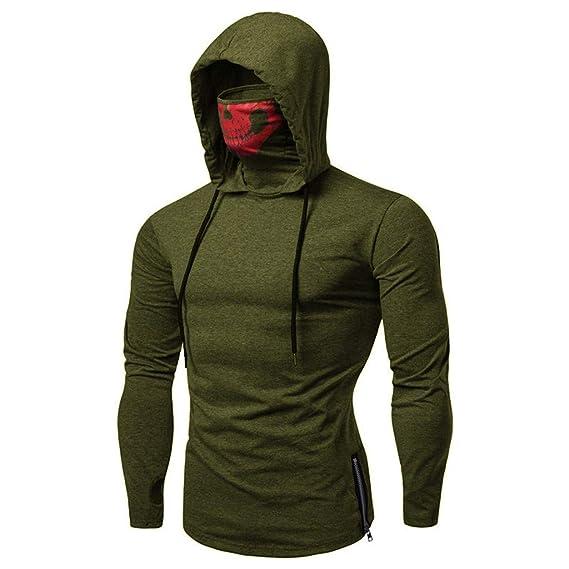 SANFASHION Herren Hooded Mens Mask Skull Sweatshirt Pure Color Pullover Langarm Kapuzenpulli Tops