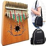 Luvay Kalimba 17 key Thumb Piano with Case Bag, Solid Mahogany Body
