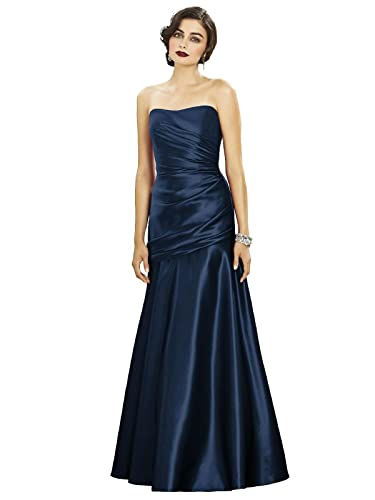 Dessy Women's Full Length Strapless Matte Satin Dress w/ Draped Detail at Bodice
