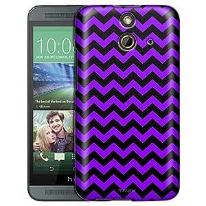 HTC One E8 Case, Slim Fit Snap On Cover by Trek Chevron Zig Zag Purple Black Trans Case