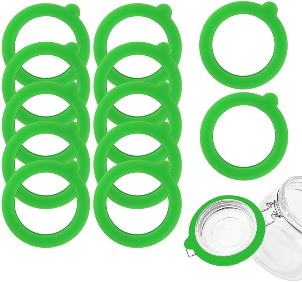 MOYENNE 12 Pieces Silicone Replacement Gaskets Glass Jar Gaskets for Glass Clip Top Jars Food Grade Rubber, Leakproof Sealing Rings for Standard Sized Mouth Canning and Storage Containers (Green)
