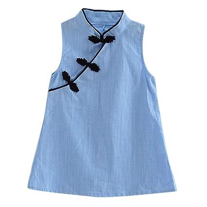 Vanpower Vestido chino de color sólido para bebés y niñas, estilo vintage, sin mangas