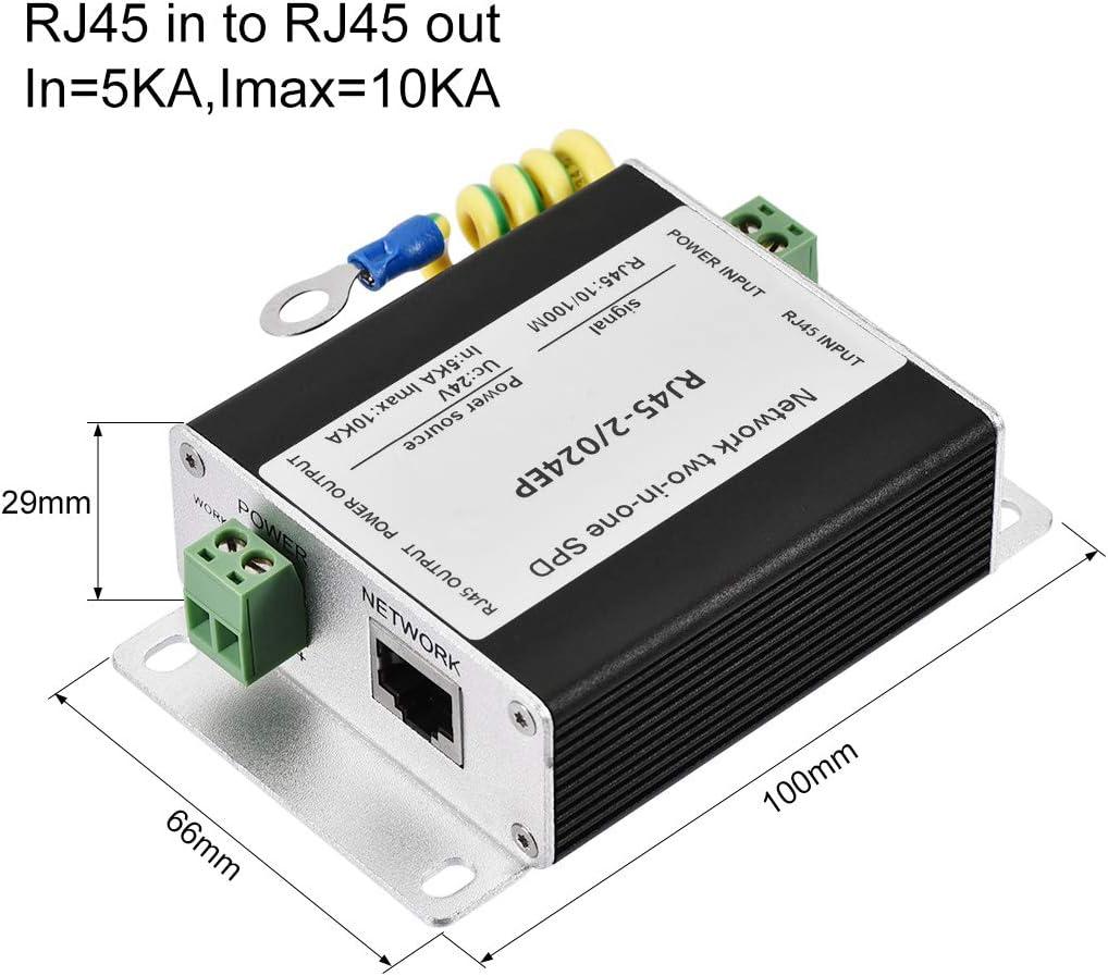 100M 24V sourcing map Ethernet /Überspannungsschutz f/ür 10//100M Gigabit Modem Donner Blitzschutz Schwarz 10