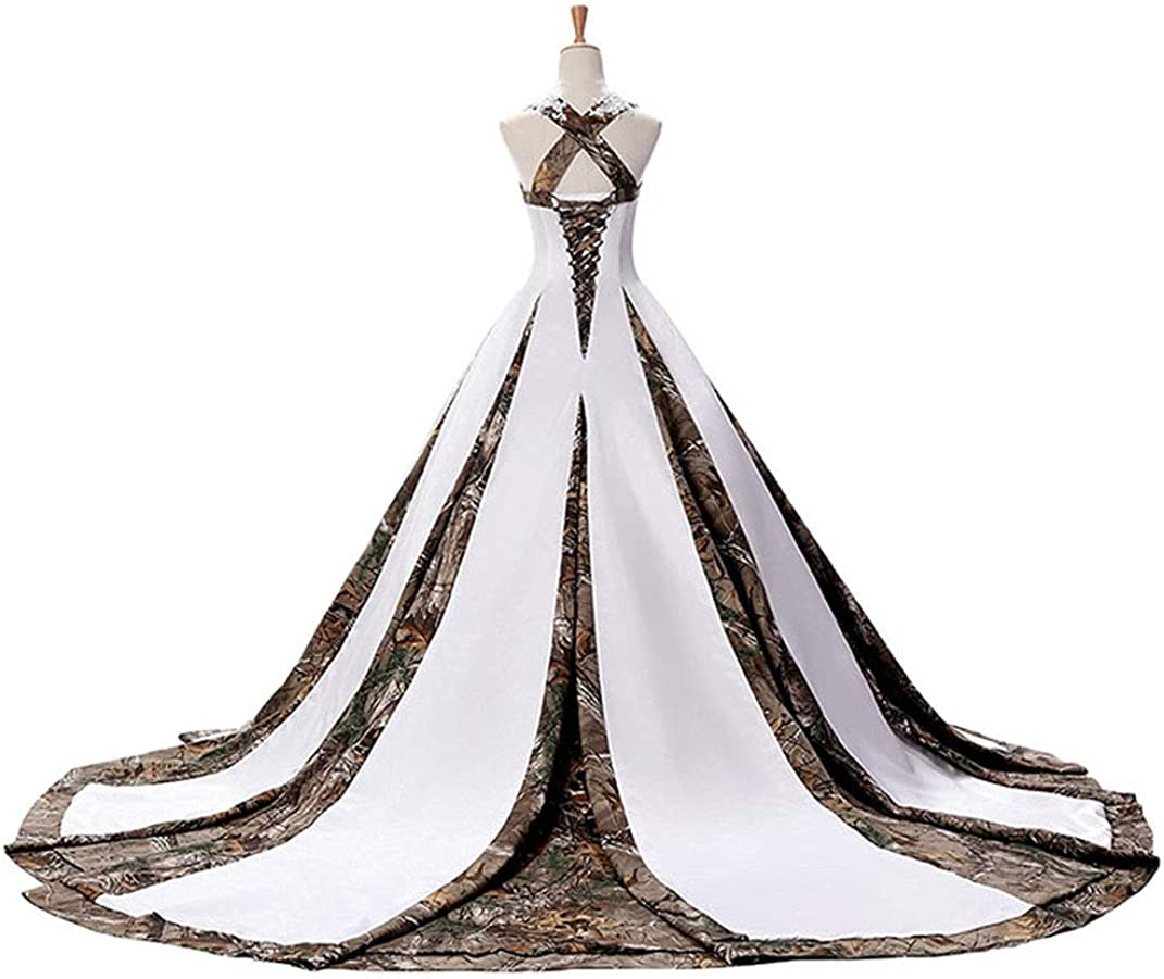 Zvocy Women S Camouflage Wedding Dresses For Bride Satin Camo Long Formal Gown For Wedding White At Amazon Women S Clothing Store