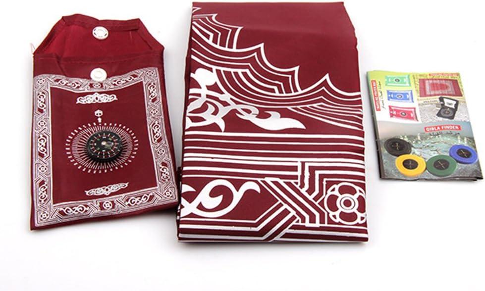 sac de transport et boussole attach/é tapis de pri/ère en nylon imperm/éable facile vert SADA72 Tapis de pri/ère musulman avec boussole