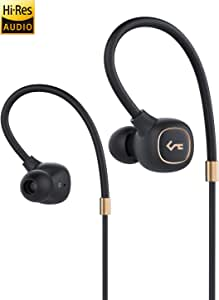 AUKEY Wireless Headphones with Hybrid Driver System, High Fidelity Sound, aptX Low Latency, IPX6 Water-Resistance, USB-C Charging, 8h Playtime and in-line Mic (Black)