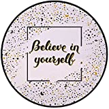 Printing Round Rug,Inspirational,Artistic Frame with Motivational Phrase Moons Stars Calligraphy Mat Non-Slip Soft Entrance Mat Door Floor Rug Area Rug For Chair Living Room,Black Marigold White