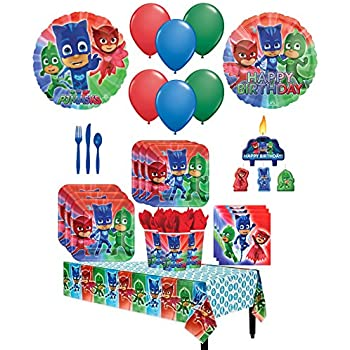 The Ultimate PJ MASKS Party Pack for 16 with Dinner Plates, Napkins, Cups, Cutlery, Candles, Tablecover, and Balloon Decorations