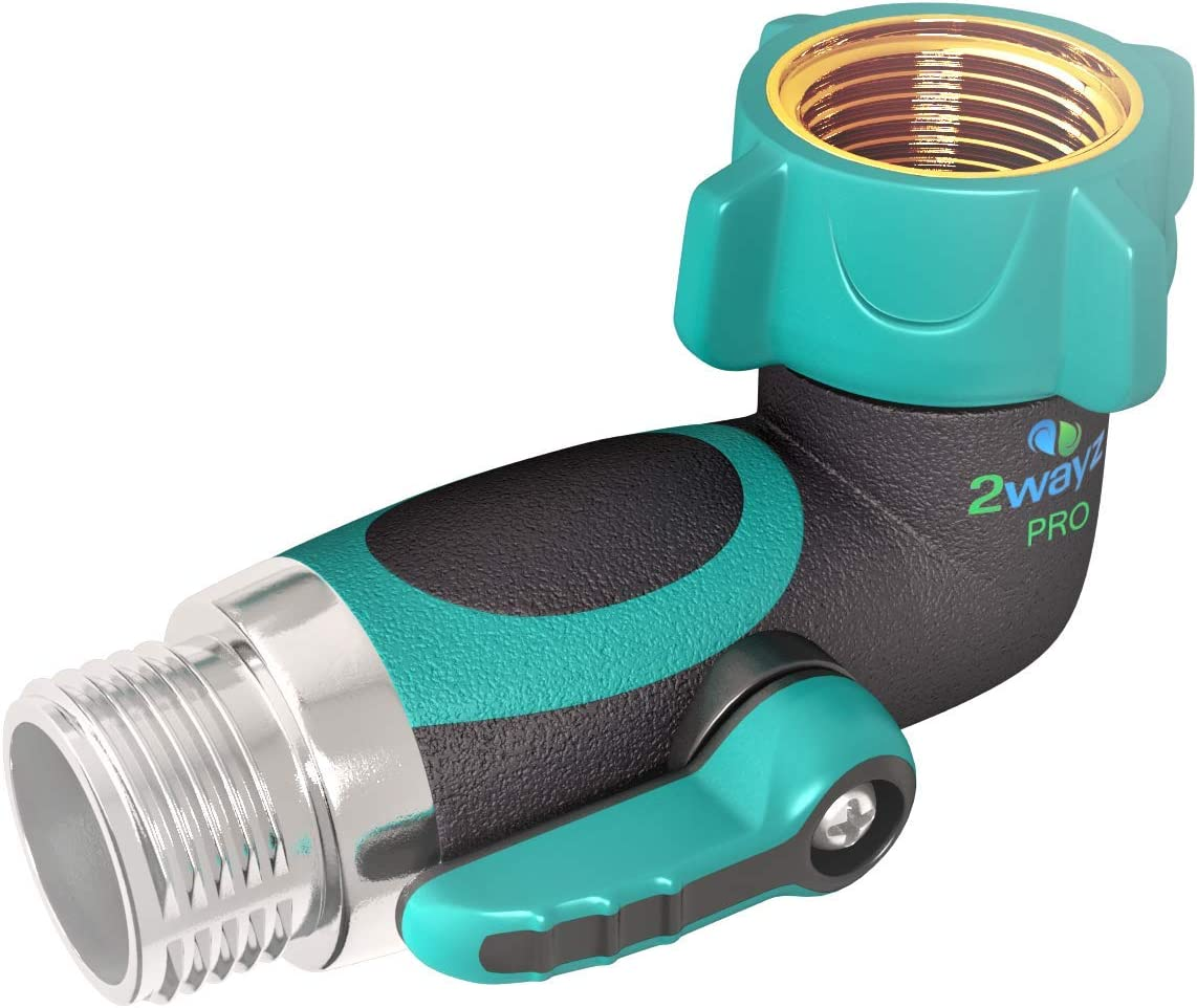 2wayz 90 Degree Garden Hose Elbow with Shut Off Valve. Upgraded 2019 Full Metal Bolted and Threaded Spigot Extender. Perfect for RVs. Ergonomic, Lead Free, Family Safe Adapter : Garden & Outdoor