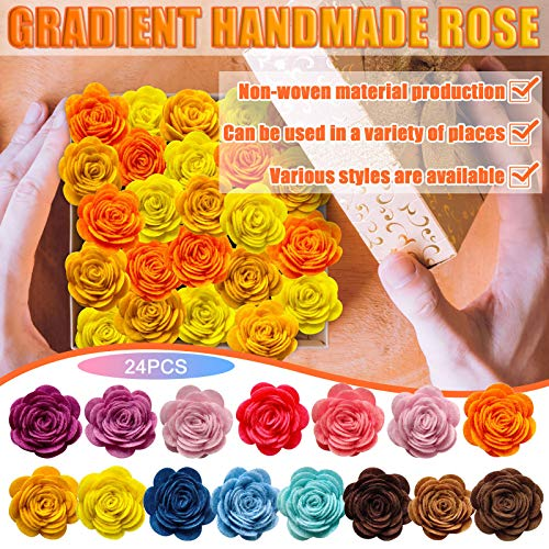 Sakoid 24pcs Artificial Flowers Roses - Real Looking Fake Flowers w/Stem, DIY Wedding Decor for Ceremony – Faux Flower Garland Decoration Accessories Wreath Decoration Applique, New (A)
