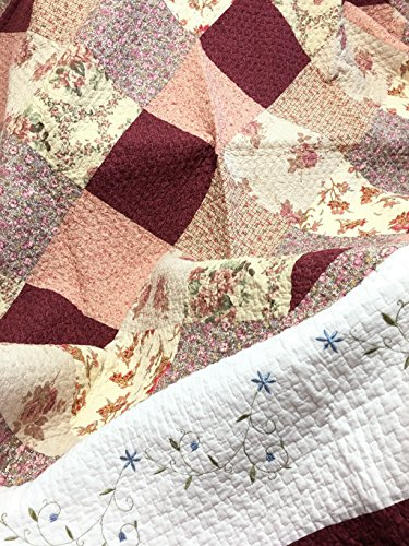 Cozy Line Home Fashions Floral Real Patchwork Burgundy Red Coral Pink Country, 100% COTTON Quilt Bedding Set, Reversible Coverlet Bedspread, Scalloped Edge,Gifts for Women (Georgia, Twin - 2 piece) by Cozy Line Home Fashions (Image #1)
