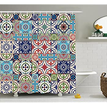 Ambesonne Moroccan Decor Collection, Patchwork Pattern From Colorful  Moroccan Tiles Traditional Decorating Illustrations, Polyester