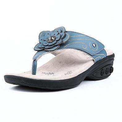 1bc03568630 Therafit Julia Women s Leather Floral Adjustable Wedge Sandal - Blue