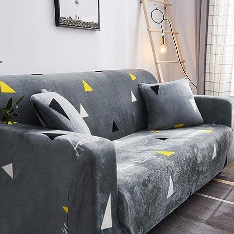 D&LE Funda de sofá Cubre 1 2 3 4 Plazas Color Puro Felpa Protector de sofá Terciopelo Fácil Ajuste elástico Tela Stretch Protector para sofás-G 2 ...