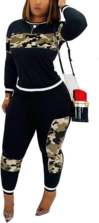 Women 2 Piece Outfits Jogging Suit Long Sleeve Leopard Printed Bodycon Crop Top and Long Pants