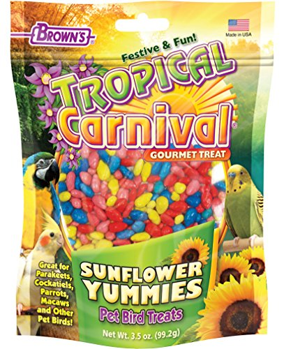 Macaw Bird Treats (Tropical Carnival F.M. Brown's Sunflower Yummies Treat for Parakeets, Cockatiels, Parrots, Macaws, and Other Pet Birds, 3.5oz)