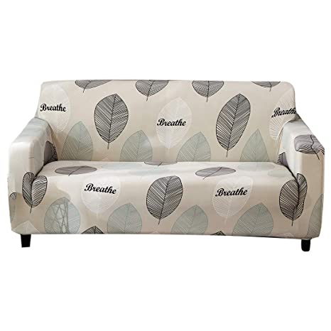 Wondrous Forcheer Printed Couch Cover Stretch Three Seat Sofa Slipcover Leather Furniture Protector From Dogs For Living Room Sofa Leave Machost Co Dining Chair Design Ideas Machostcouk