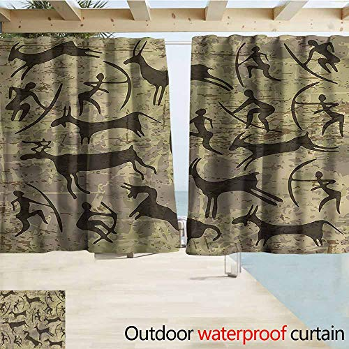 MaryMunger Rod Pocket Top Blackout Curtains/Drapes Tribal Rock Art Carving Prehistoric Simple Stylish Waterproof W63x63L ()