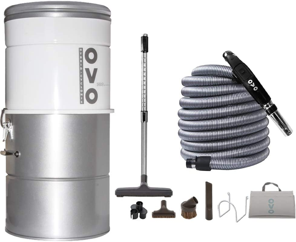 OVO AW Large and Powerful Central Vacuum System, Hybrid Filtration (with or Without Disposable Bags) 25L or 6.6 Gal, 700 Air watts and 35 ft Deluxe Accessory Kit Included, White and Silver