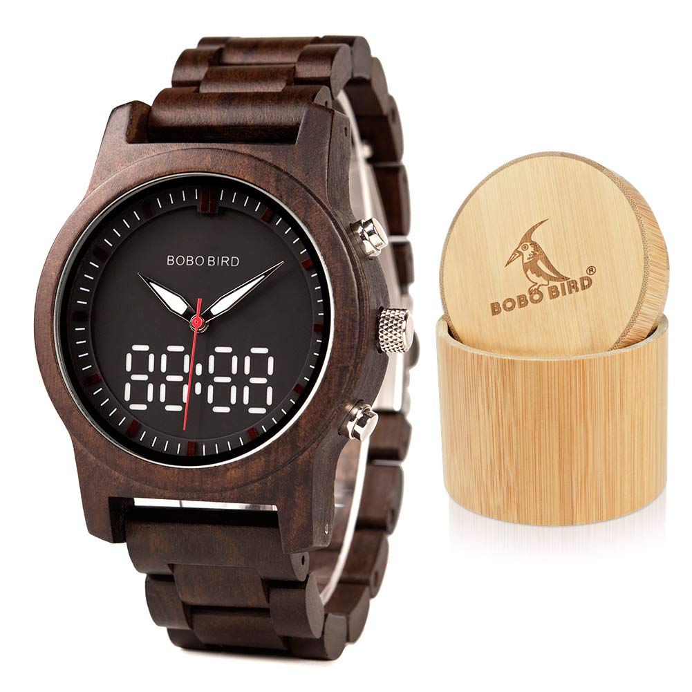 BOBO BIRD Mens Womens Wooden Watches Luxury Sport LED Digital Quartz Double Display Black Sandalwood Watch for Men