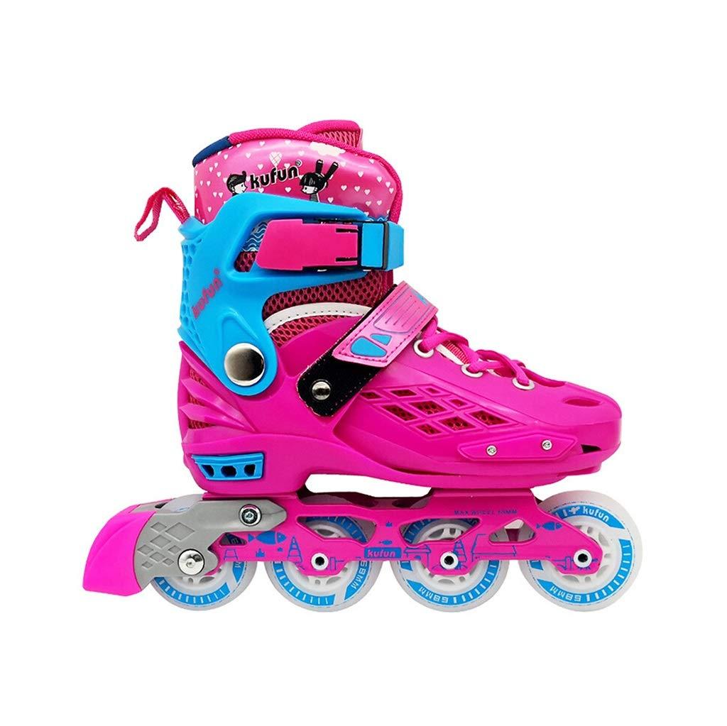 屋外発光 フィットネスタイプ初心者用ポータブルインラインスケート,サイズ調整可能 ジュニア男の子 向け Inline Skate ,女の子 子ども贈り物ローラースケート (Color : Pink, Size : XL-EU(40-43)) XL-EU(40-43) Pink B07SWHYNS4