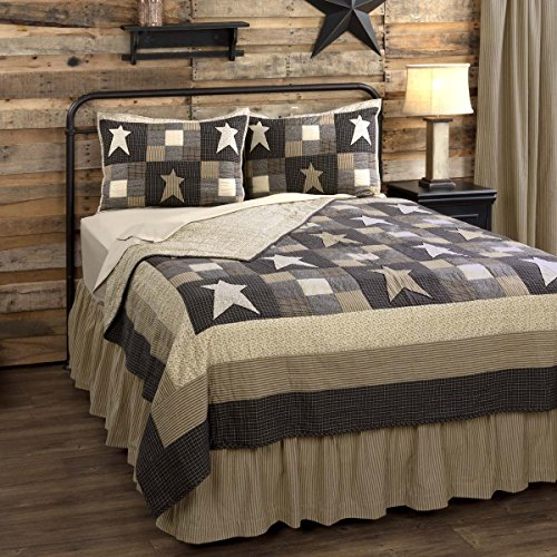 Primitive Star Patchwork Country Luxury King Quilt - Vintage Black and Creme (King Star Quilt Luxury)