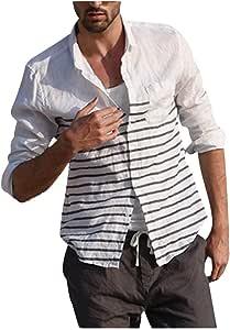 Staron Camisa de Lino para Hombre, Casual, con Botones, Manga ...
