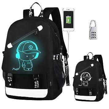 KYD - Mochila para niños, niñas, hombres y mujeres, con iluminación anime, cabe un portátil en ella, ...