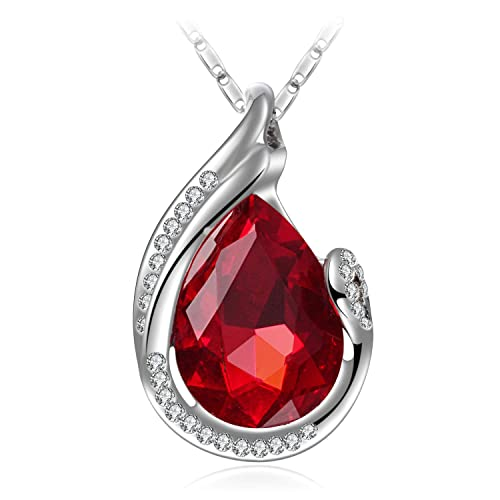 1ea1f5589 Wonvin Fashion 18K White Gold Plated Glass Crystal Jewelry Drop Pendant  Necklace for Women Color Red: Amazon.ca: Jewelry