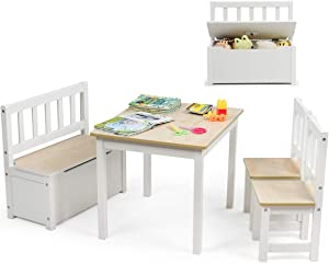 Costzon Kids Table and Chair Set, Wood Activity Table with Toy Storage Bench & 2 Chairs for Children Reading, Arts, Crafts, Snack Time, Homework, Playroom, Toddler Table and Chair Set (Natural)