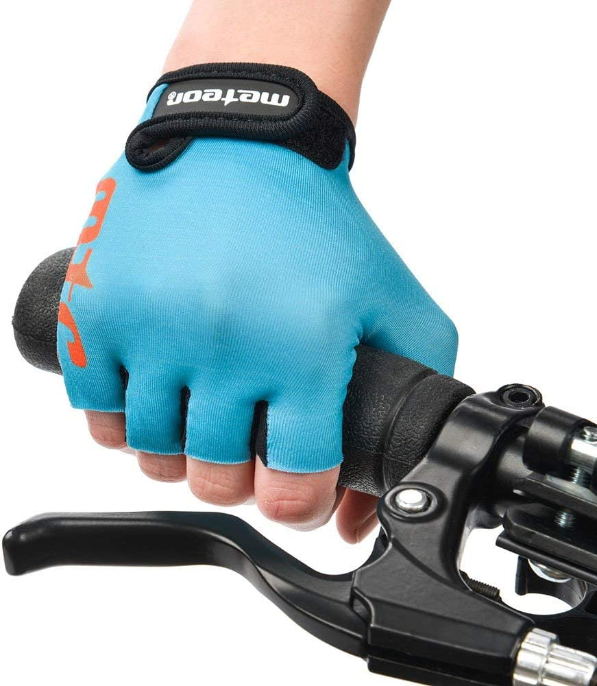 meteor Kid Cycling Gloves With Short Half Fingers Fastened Children Kid Child Bike Safety Accessories Hand Protect JR M ~7-7,5cm 2.7-2.9inch, One Blue