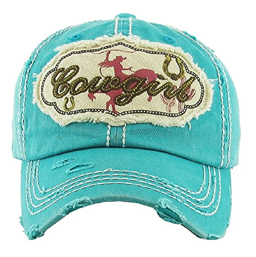KB Jp Adjustable Cowgirl Roper Bronc Horseshoe Cactus Patch Vintage Distress Cap Hat (Turquoise Blue) from KB