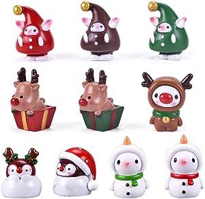 CheeseandU 10 Pcs Cute Mini Christmas Elf Snowman Reindeer Fairy Garden Miniature Figurines Accessories for Xmas Bonsai Craft Cactus Garden Micro Landscape Dollhouse Decor Xmas Aquarium Decor
