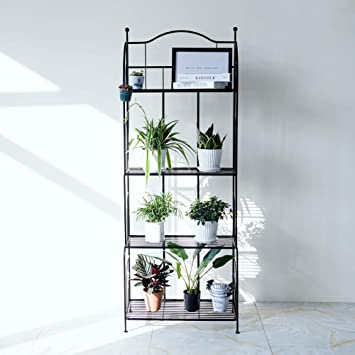 Y&M 4-Tier Metal Shelves Black Bakers Rack Shelf Rack Outdoor Side on house plant poles, house plant trays, house plant containers, house plant watering devices, house plant holders, house plant stakes, house plant shelving, house plant supports, house plant stands, house plant hangers,