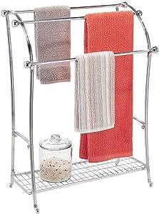 mDesign Large Freestanding Towel Rack Holder with Storage Shelf - 3 Tier Metal Organizer for Bath & Hand Towels, Washcloths, Bathroom Accessories - Chrome