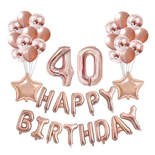 Crazy-M Set de decoración de cumpleaños Número 40 Globo de Oro Rosa para Mujeres, Decoración de Fiesta de cumpleaños