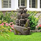 Diensday 39.4''H Outdoor Indoor Freestanding Fountain Floor LED Lighted Lighting Rock Cascading Garden Pump Powered Decor Waterfall Fountains Patio Backyard Lawn(39.4''H- Four tier rockery modeling)