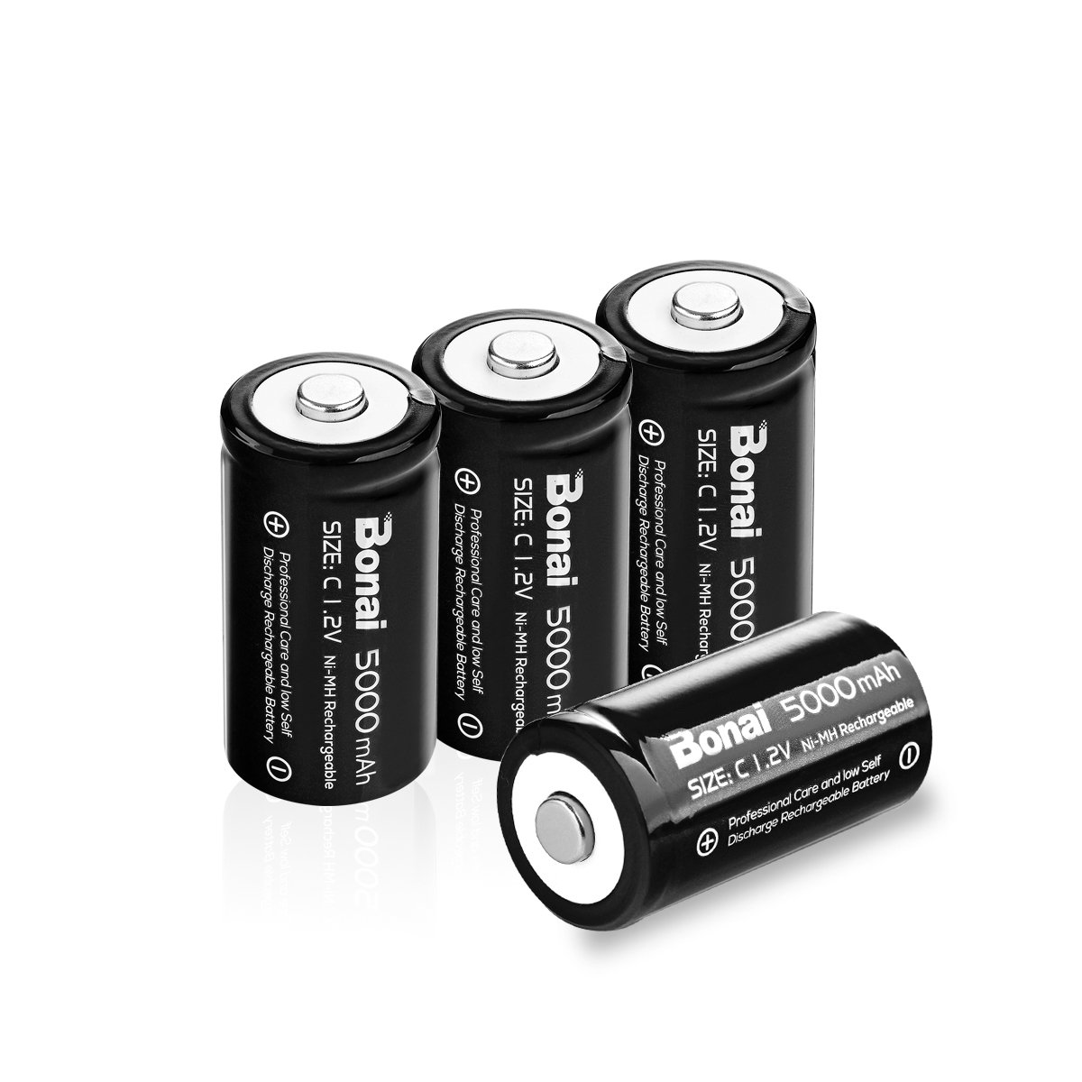 BONAI Rechargeable C Batteries, C Cells 5000mAh 1.2V Ni-MH High Capacity C Size Battery (4 Pack) by BONAI