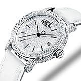 Gosasa Top Brand Women Watch All Star Luxury Jewelry Watch Austrian Crystal Mechanical Watch Fashion Lady Sapphire Wristwatch With White Leather Strap