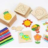 儿童拼图木制画画工具幼儿园礼物小学生初学涂鸦绘画套装模板男孩女孩益智3-8岁 (绘画板(激光雕刻))