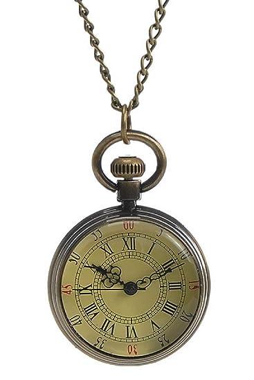 60066bee8c2a Souarts Color de bronce antiguo reloj de bolsillo números romanos esfera  redonda con cadena 82 cm  Amazon.es  Relojes