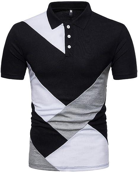 Camiseta para hombre ronamick Mode Patchwork manga corta camiseta ...