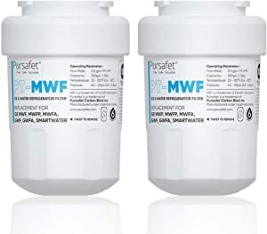 Pursafet MWF Refrigerator Water Filter Compatible with GE MWF, GWF01,GWFA,GWF06,SmartWater,MWFINT,MWFP,MWFA,GWF,HDX FMG-1,WFC1201,RWF1060,197D6321P006,GSE25GSHECSS,Kenmore 9991,46 9996,46-9991, 2 Pack