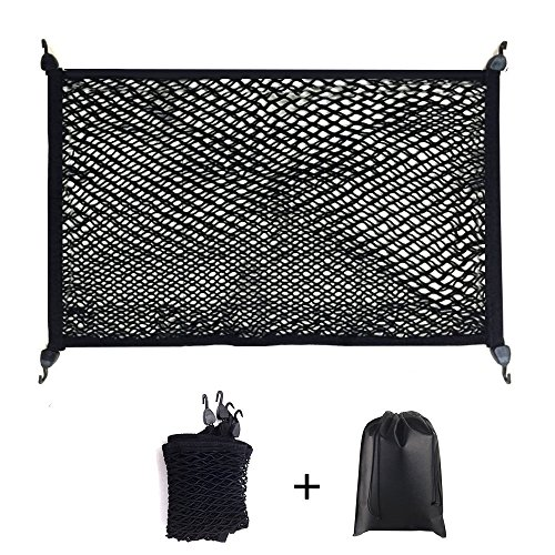 Premium Quality Adjustable Elastic Cargo Net Universal Stretchable Truck Net with Hooks,Storage bag for Car, SUV, Truck, Pickup Trucks Black 32x24in (X 24 36 Net Cargo)