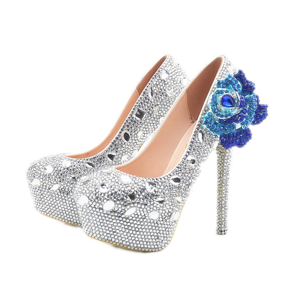 Lacitena Slip Tobillo de Plataforma de tacón Alto con Punta en Punta de Mujer en Las bombaNuevos Zapatos de tacón Alto de Diamantes de Moda Zapatos de tacón Alto de tacón Salvaje 39 EU|Rosa