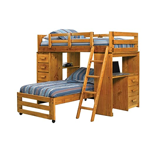 Twin Over Twin L Shaped Bunk Bed With Desk End Amazon Co Uk