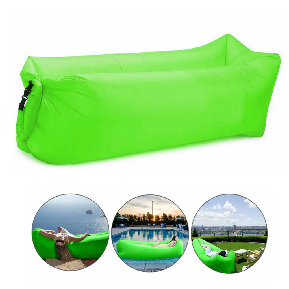 Bry Inflatable Lounger Air Chair Sofa Bed Sleeping Bag Couch For Beach Camping Lake Garden (Green)